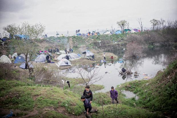 Stuck in limbo: Some of the tented homes at Idomeni.