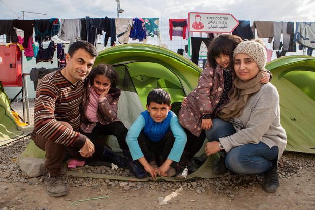 Syrian parents Ihrahim and Piman with their children Helin (7), Ivan (9) and Samah (5).