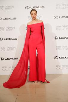 An Umit Kutluk creation at the Lexus Fashion Collective at Trinity College. Photo: Kieran Harnett.