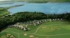 Fota Island with the self-catering lodges beside the golf course.