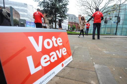 Vote Leave campaigners in Manchester beside the National Football Museum. Photo: Dan Rowlands