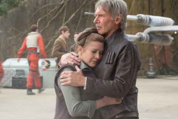 Movie: Harrison Ford and Carrie Fisher reunite in Star Wars: The Force Awakens.