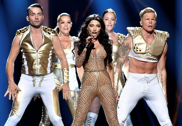 Euro trash: Azerbaijan's Samra, center, performs 'Miracle' during the first Eurovision semifinal in Stockholm earlier this week.