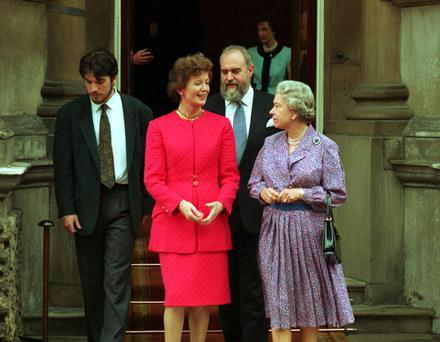 Momentous: President Mary Robinson with the Queen outside Buckingham Palace in 1993. Photo: Eamonn Farrell/Photocall Ireland