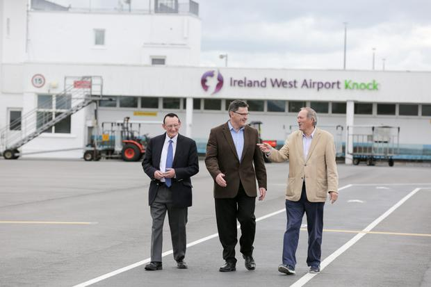Tom Neary, CEO Joe Gilmore, and Terry Reilly at Ireland West Airport Knock. Photo: Keith Heneghan / Phocus
