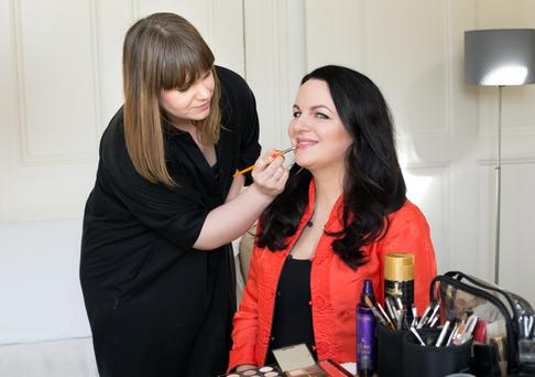 Triona McCarthy, right, gleaned tips from make-up artist Sarah Jane Lanagan. Photo: Tony Gavin.