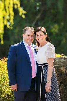 Sharon Smurfit and Emmet Savage after their civil ceremony at the K Club last week.