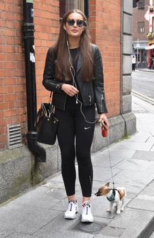 Roz Purcell with her dog, Wilco.