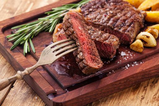 Rib-eye steak.
