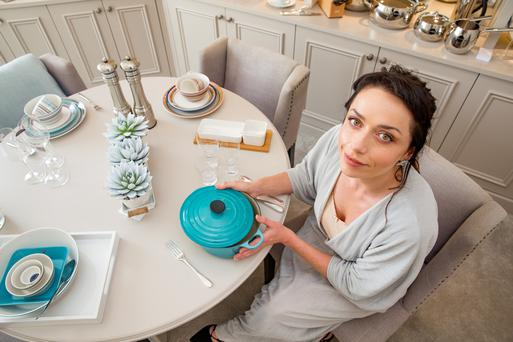 Wedding prep: Katie Byrne browses the crockery at The Wedding Shop on Clare Street in Dublin. Photo: Arthur Carron