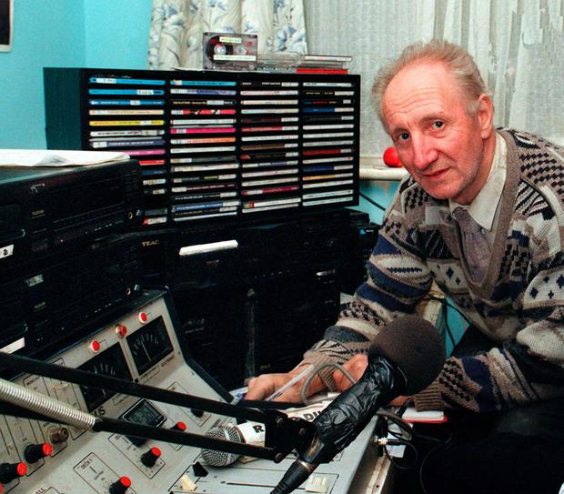 Prime suspect: Pirate DJ Eamon Cooke at his Inchicore studios from where Radio Dublin was broadcast.