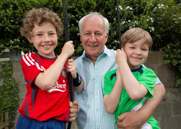 Age old question: Stephen Brennan (60) is father to eight-year-old Dylan (left) and five-year-old Jamie (right). Photo: Fergal Phillips.