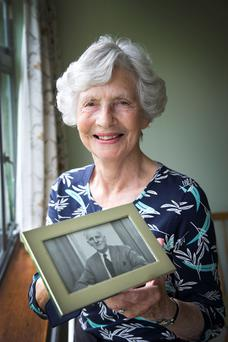 Remembered: Paula O'Kelly with a photo of her father-in-law, Fergus O'Kelly.