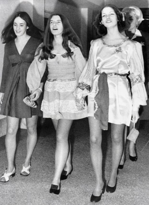 Disciples: Followers of Charles Manson Susan Atkins, Patricia Krenwinkel and Leslie Van Houten attend trial circa 1970.