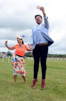 Maura Derrane and Snapchatter James Patrice at Listowel Races.