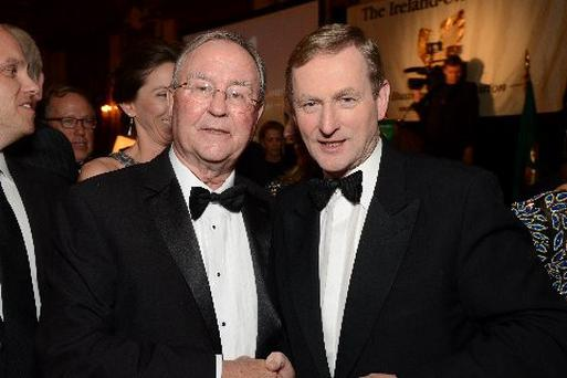'Miffed': Dublin-born Republican supporter Diarmuid Hogan with Enda Kenny in New York last year