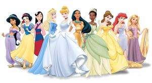 From left: Jasmine from Aladdin; Snow White; Mulan; Sleeping Beauty; Cinderella; Pocahontas; Tiana from Princess and the Frog; Belle in Beauty and the Beast; Ariel in The Little Mermaid and Rapunzel