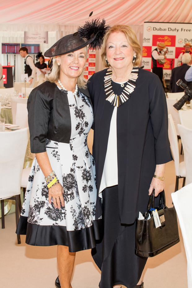 Breeda McLoughlin & Kathleen Watkins pictured at the Dubai Duty Free Irish Derby at the Curragh Racecourse on Saturday 25th June. Photo: Anthony Woods