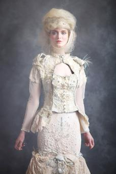 Corset top, €635; embroidered skirt, €695, both Claire Garvey.