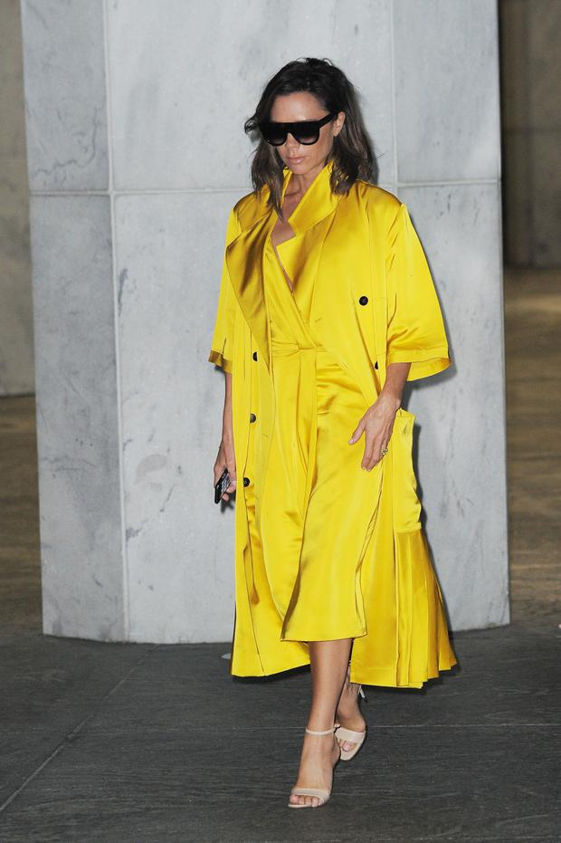 Victoria Beckham in head-to-toe yellow for a New York street style look last month.