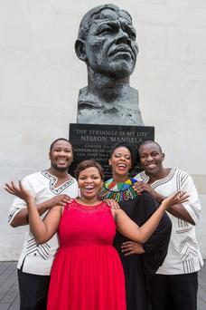 From left: Lukhanyo Moyake (Justice), Siphamandla Yakupa (Winnie), Candida Mosoma (Dollie) and Yamikani Mahaka-Phiri (Mandela 2) photographed at the Mandela Statue Southbank