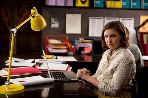 Desk-bound misery: Lena Dunham as Hannah in 'Girls'