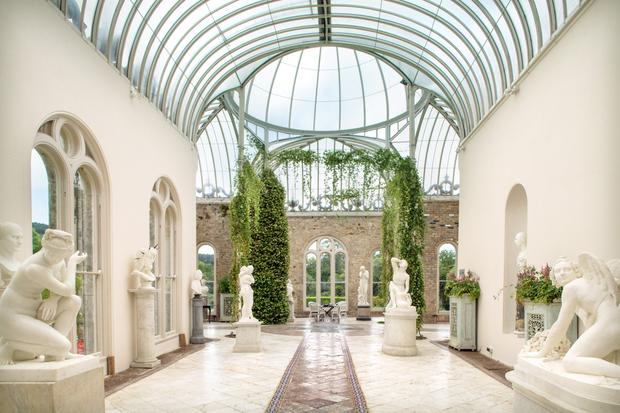 The orangery, which was designed by William Burns, was built in the 1850s. The sculptures were brought back from trips to Italy, taken by family members in the 19th Century. 'They were posh souvenirs from the Grand Tour,' Anthony Ardee jokes