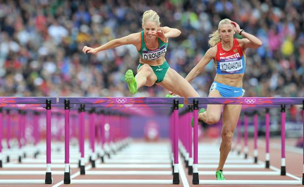 Derval in the semi-final of the Women's 100m Hurdles at the London Olympics in 2012