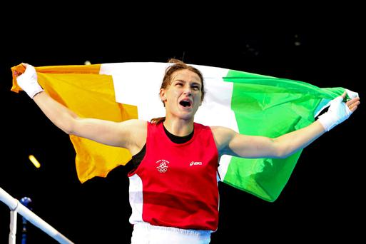 Katie Taylor celebrates her Olympic gold in 2012