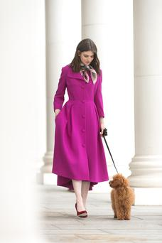 Wool-crepe coat, €595, Niamh O'Neill. Shoes, €125, Buffalo, Arnotts. Scarf, €125, Lisa Ryder