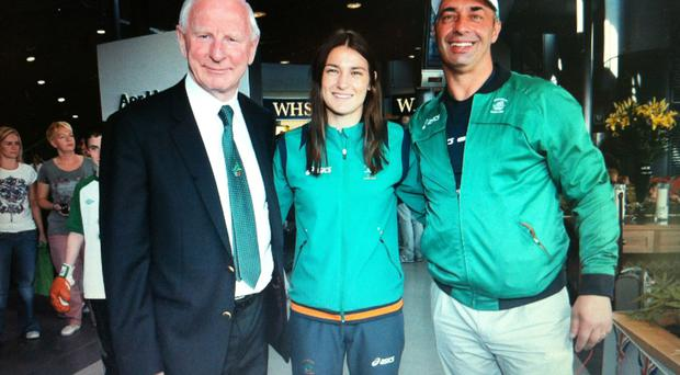 Pat Hickey with Katie and Peter Taylor