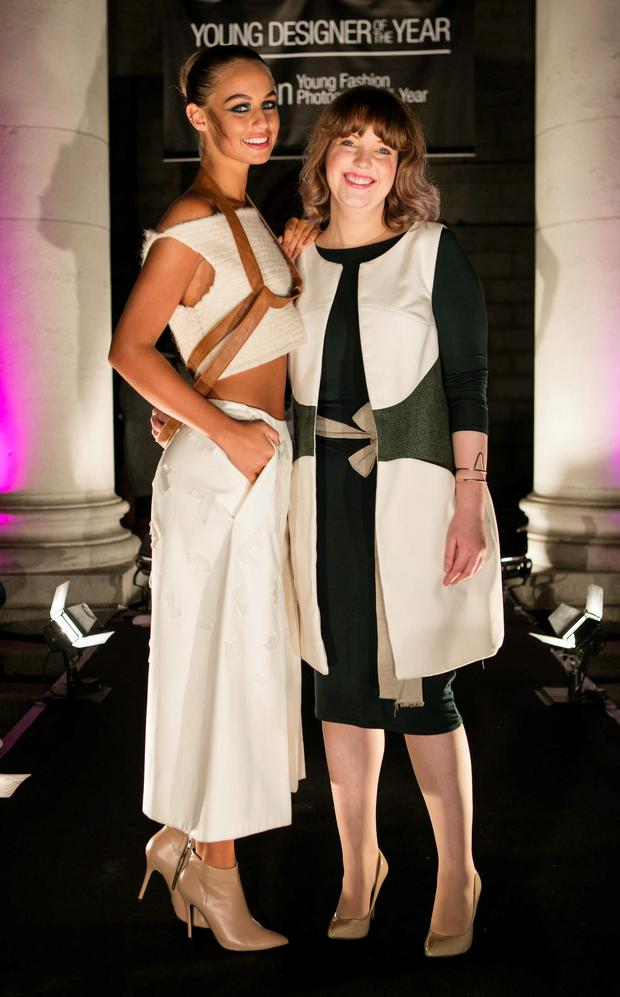 On top: Thalia Heffernan models Katie Donohue's DFF's Young Designer of the Year winning outfit in 2015