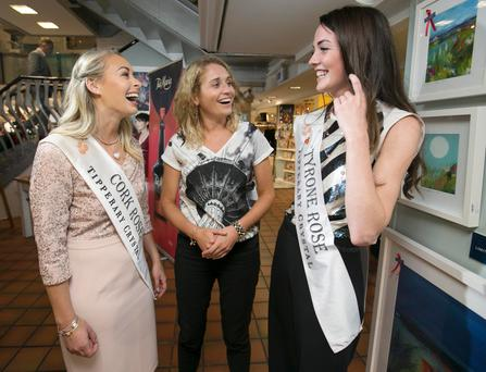 Melissa O'Gorman, store manager of the Kilkenny Shop on Nassau Street with Cork Rose, Denise Collins and the Tyrone Rose, Genevieve Scullion