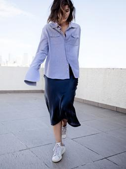 Shirting the issue: Fashion blogger Sara Donaldson, of Harper and Harley, wearing shirt by Anna Quan