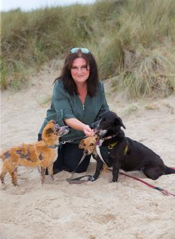 Best friends: Tanya Booth on Curracloe beach, Co Wexford with her rescue dogs Dubh, Candy and Scooter Photo: Patrick Browne