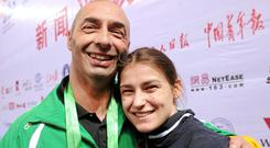 Pete and Katie Taylor after qualifying for the 2012 London Olympics. Photo: David Maher / SPORTSFILE