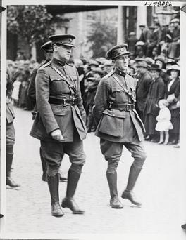 Dear friends: Michael Collins and Richard Mulcahy at Arthur Griffiths' funeral, just 10 days before Collins' own assassination