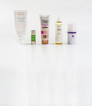 From left: Avene Tolerance Extreme Cleansing Lotion; Clarins Booster Detox; Rimmel Sun Shimmer Gradual Tan & Toning; Kiehl's Nurturing Oil for Mom & Baby; Image Skincare Iluma Intense Brightening Exfoliating Powder