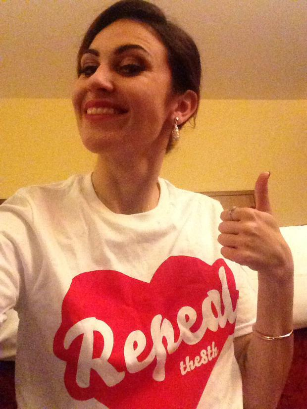 A picture Brianna Parkins tweeted of herself wearing a 'Repeal the Eighth' T-shirt