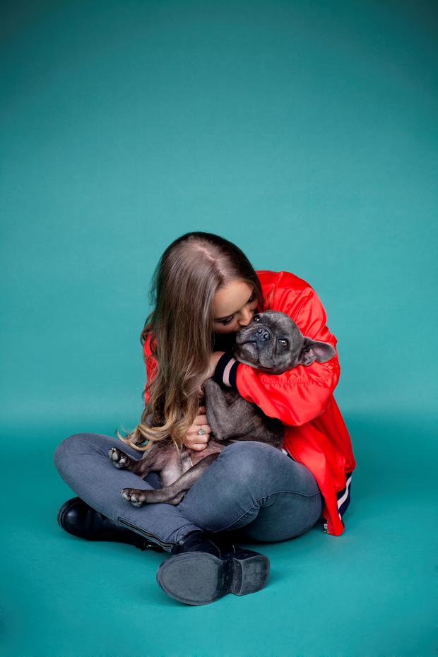 Indy Power and her French Bulldog Arnold. Photo: Naomi Gaffey