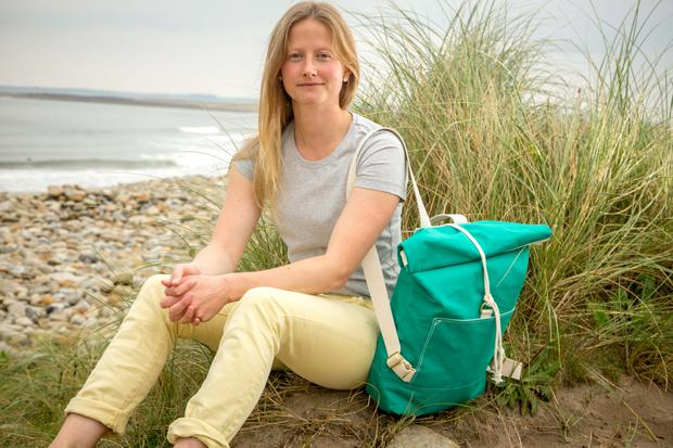 Surfer Ashleigh Smith who surfs to pro-level but has also started a range of bags inspired by surf culture, on Strandhill Beach, Strandhill, Co. Sligo. Photo: James Connolly