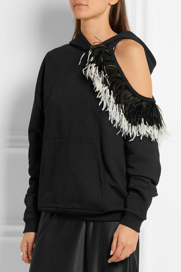 Christopher Kane hooded cutout feather-trimmed cotton-jersey sweatshirt, €845, Net a Porter