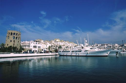 The port at Marbella, a typical Andalusian town, with cobbled winding streets and pretty white houses