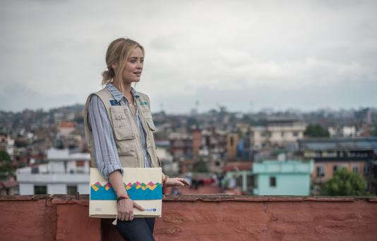 National Campaign Ambassador for #Emergency Lessons, Laura Whitmore in Kathmandu, Nepal at the beginning of her field trip with Unicef to assess the devastation the 2015 earthquake caused to schools there. Photo: Matthieu Chardon @Matthieufilms