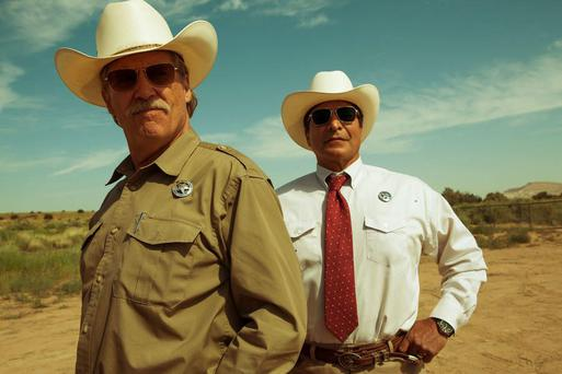 Jeff Bridges and Gil Bermingham as Texas Rangers Marcus and Alberto