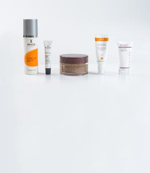 Pictured, from left, Image Skincare Vital C Hydrating Facial Cleanser; Nuxe Splendieuse Anti-Dark Spot Anti-Dark Circle Eye Contour Cream; No7 Intensive Radiance Body Scrub; Ren Wake Wonderful Night-Time Facial; Skinician Pro-Radiance Enzyme Peel