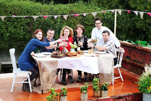 Waste not want not: Airfield Estate team members, from left to right, Kathy Conlan, Paul Nolan, Airfield Head Food Grower Kitty Scully, Airfield Estate CEO Grainne Kelliher, Head Chef Jose Carbajo and John O'Toole settled down to a special 'supper in a skip' to launch Airfield's Festival of Food. Photo: Leon Farrell