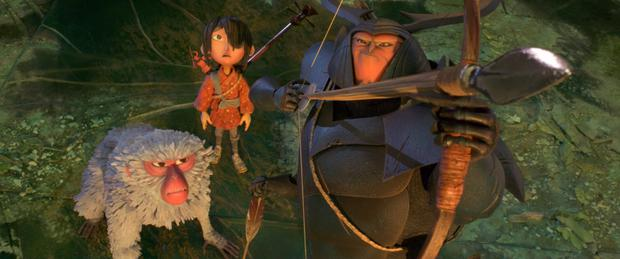 'Kubo and the Two Strings'. These three characters are voiced by Matthew McConaughey, Charlize Theron, and Art Parkinson. Below, director Travis Knight