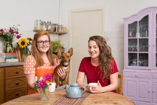 Roommates: Hollie Kearns, 31, Hannah McCormick, 30, are two of six long-term residents co-habitating in The Friary in Callan in Co Kilkenny Photo: Brian Cregan