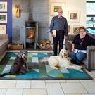 Damien Brennan and Paula Gilvarry in the cosy sitting area of their open-plan home, with their dogs. Rico is named after the monkey owned by Yeats's muse Maud Gonne; and Georgie is named after Yeats's wife